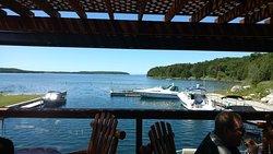 The restaurant deck overlooks this peaceful dock.