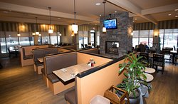 The Grille has booths, window seats, group seating as well as a double-sided fire place!