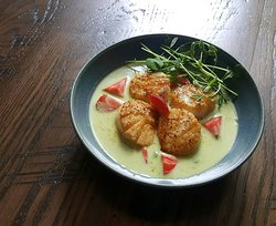 Pan-seared Sea Scallops, Pea Curry, English Peas, Pickled Strawberries served with jasmine rice.