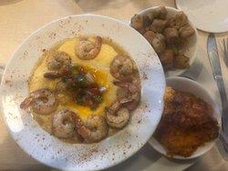Shrimp & Cheesy Grits with Fried Okra and Sweet Potatoe souffle