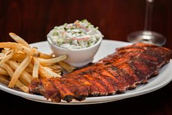 Danish Baby Back Ribs with scratch made BBQ sauce and coleslaw