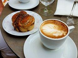 Cardamom Roll and Cappuccino