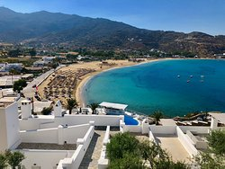 The view from our room looking down Mylopotas Beach