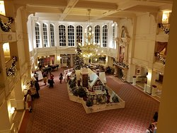 Main lobby decorated for Christmas