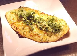 Garlic & herb flatbread, fresh from our brand new Pizza oven