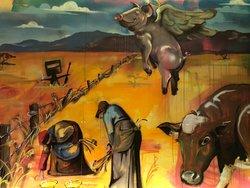 Australian Art mural at Flour Drum by renowned Sydney artist Scott Marsh