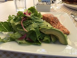 Salmon Salad Special w/ avocado slices, greens