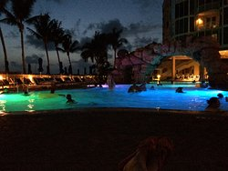 Main pool in evening