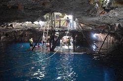 Ziplining in the cenote kinha