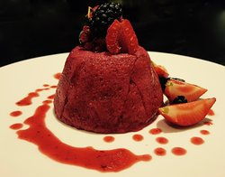 Summer Pudding topped with fruits of forest!
