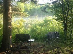 Our campsite at Glimmerglass State Park, overlooking the pond.