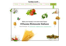 Lunch & Dinner @Duomo Ristorante Italiano! Open also on Sunday!