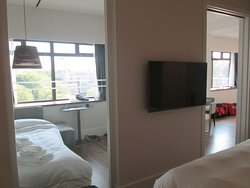 View from the bedroom into the main area / common area of the suite