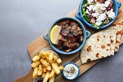 Lamb, salad, pita, chips and tzatziki