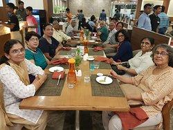 With friends floor dinner