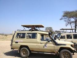 The safari car at Serengeti camping site