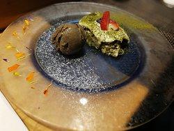 Homemade Green Tea Tiramisu with Roasted Green Tea Ice-cream
