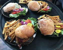 Assorted burgers with buns made from scratch
