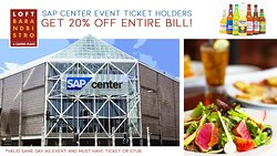 SAP Center Promo. 20% off your bill day of with ticket stub* See more for details.