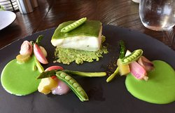 Herb-crusted Halibut with Asparagus, Rhubarb and English Peas
