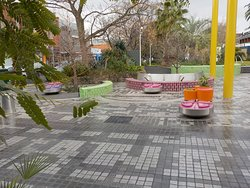 Colourful seating by the road
