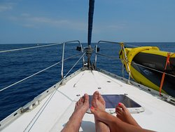 Relaxing while sailing.
