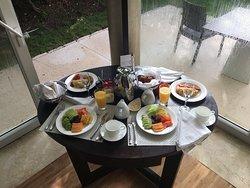Breakfast in bed for honeymooners
