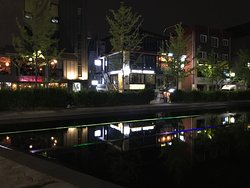 Close to Gyeongui Line Forest Park lined with restaurants. Some are open past midnight.