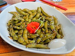 Spicy edamame appetizer (non-spicy available too)