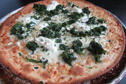 Gluten Free Cauliflower Crust White Pie with Ricotta and Spinach