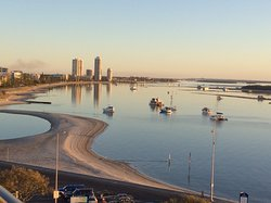The Broadwater looking North, the Lagoon a popular swimming spot.