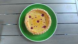 Lemon buttermilk with raspberry pie