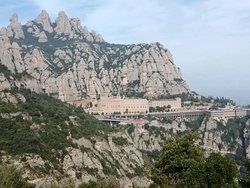 View of monastery/Montserrat from the cross.
