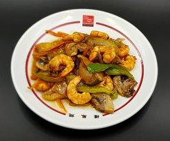 Chop Suey de Gambas y verduritass frescas 🍤🥕🍄 cocinado rápidamente en el wok