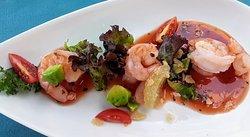 Shrimp cocktail with avocado and mango-lime salsa!