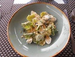 Caesar salad with quail egg, yummy