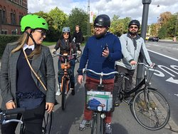 Copenhagen is a safe cycling town, here we have taken the cycle path in the direction of the Roy
