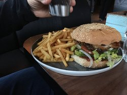 Devil Burger served with fries