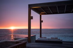 Sunset from Water Villa with Pool