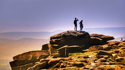 Taking in the views on Stanage Edge, Peak District