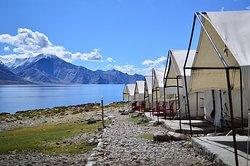 Camp site at Pangong tso lake with team Planet way round
