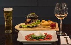 Burger, Caprese Salad, Peroni, Pinot Grigio Blush