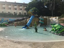 Part of the family and kids area of the pools