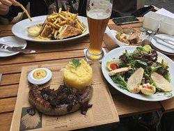 Classic Club Sandwich, Salad with Chicken Breast (Blattsalat mit Hähnchenbrust), and Wild Bratwu