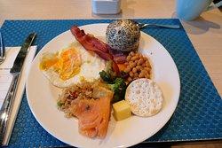 Buffet breakast filled plate