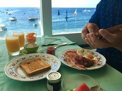 Complimentary breakfast - so many options and great views!