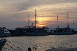 Almissa docked at sunset.