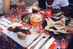 Pimientos, baba ganoush + pita, chicken burger