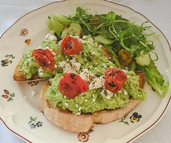 Smashed and loaded avocado on toast