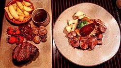 Lamb rump, scallops, steak